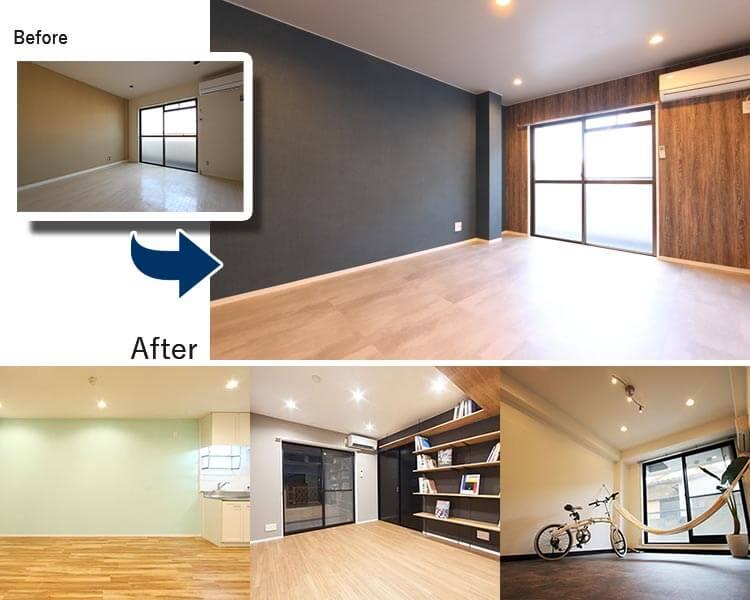 大阪府摂津市の賃貸の空室改善リノベーション工事施工会社さんらいずのエコリノベは格安の36万円のビフォーアフター