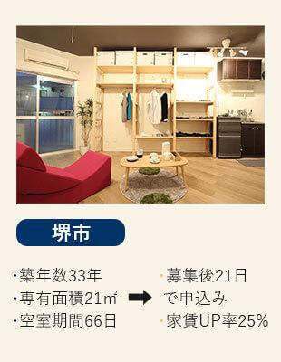 大阪府摂津市の賃貸の空室改善リノベーション工事施工会社さんらいずのエコリノベは格安の36万円の堺市の施工事例