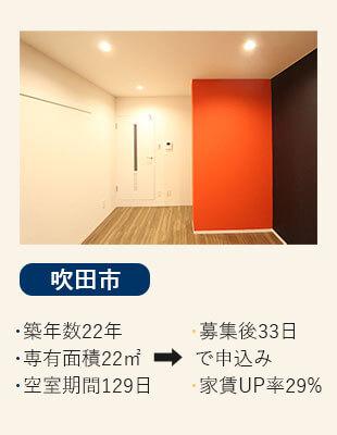 大阪府摂津市の賃貸の空室改善リノベーション工事施工会社さんらいずのエコリノベは格安の36万円の吹田市の施工事例