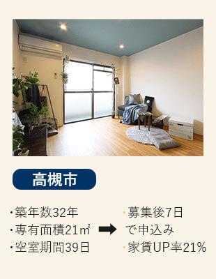 大阪府摂津市の賃貸の空室改善リノベーション工事施工会社さんらいずのエコリノベは格安の36万円の高槻市の施工事例